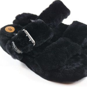 UGG Black Fuzz Yeah Slide Sheepskin Slipper Size 8
